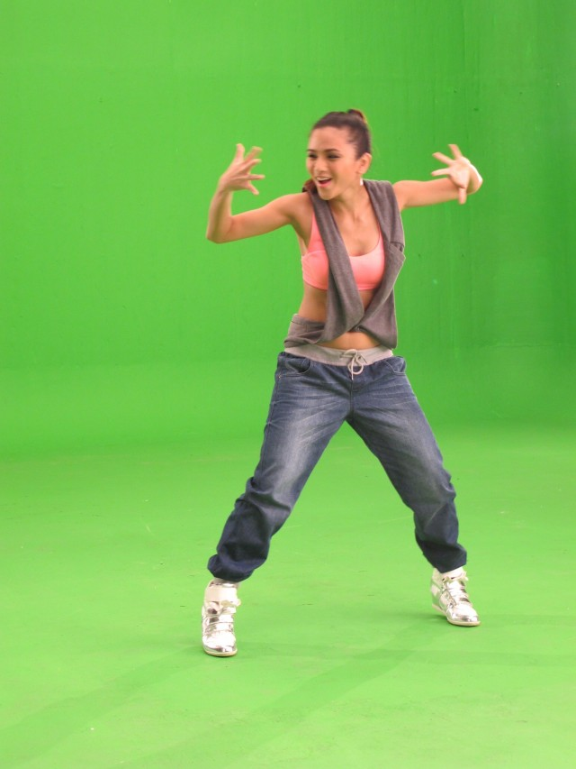 shot in front of a green screen